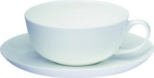 Čajový šálek s podšálkem. Bílý. Porcelán