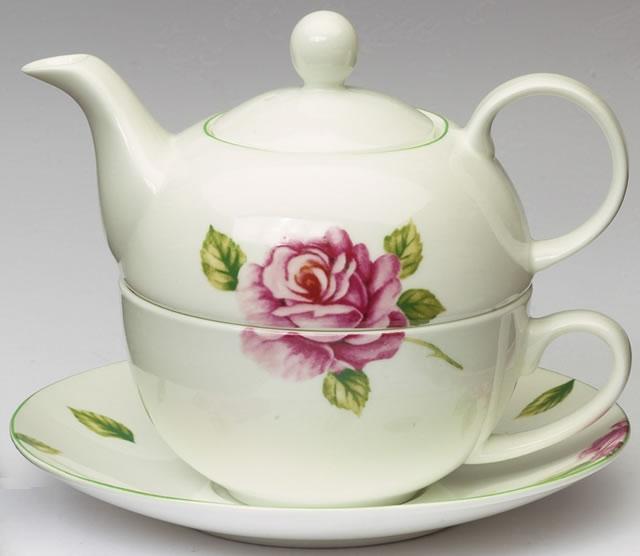Čaj pro jednoho - souprava. Růžový motiv. Fine Bone China porcelán.