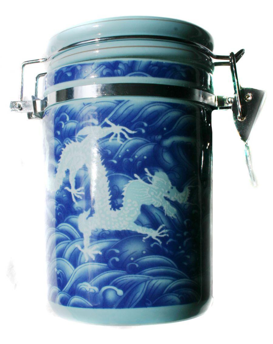 Hermetická dóza - modrá 'Drak'. Porcelán.