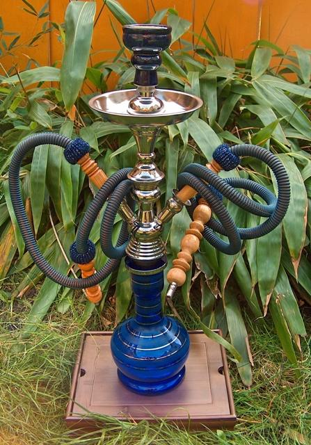 Vodní dýmka Aladin 23'' / 2 vývody. Střední - Modrá